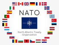 El ejemplo del vector de la OTAN señala 28 países por medio de una bandera Fotos de archivo libres de regalías