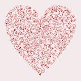 El ejemplo del vector de la tarjeta del día de San Valentín roja floral oye Fotografía de archivo libre de regalías
