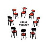 El ejemplo del vector de las sillas exhaustas de la mano arregló en un círculo Ejemplo hermoso de un proceso de la terapia del gr libre illustration