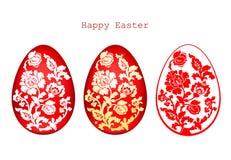 El ejemplo del vector de los huevos de Pascua adornados fijó en el fondo blanco Fotos de archivo libres de regalías