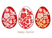 El ejemplo del vector de los huevos de Pascua fijó en el fondo blanco Fotografía de archivo