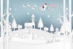 El ejemplo del vector de Santa Claus está viniendo a la ciudad y a los ciervos en bosque con nieve en la estación y la Navidad de Imagen de archivo