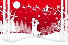 El ejemplo del vector de Santa Claus está viniendo a la ciudad y a los ciervos en bosque con nieve en la estación y la Navidad de Foto de archivo