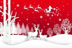 El ejemplo del vector de Santa Claus está viniendo a la ciudad y a los ciervos en bosque con nieve en la estación y la Navidad de Imágenes de archivo libres de regalías