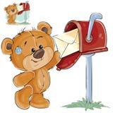 El ejemplo del vector de un oso de peluche marrón toma de un buzón la letra recibida stock de ilustración