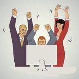 El ejemplo del vector del negocio con la gente del ofice aumentan las manos y felices Foto de archivo libre de regalías