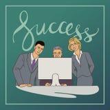 El ejemplo del vector del negocio con la gente del ofice y la escritura redactan éxito Imagenes de archivo