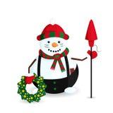 El ejemplo del vector del muñeco de nieve es como un caballero con la guirnalda, Cundles y el petardo de la Navidad imágenes de archivo libres de regalías