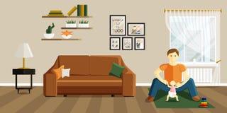 El ejemplo del vector del padre est? jugando con el beb stock de ilustración