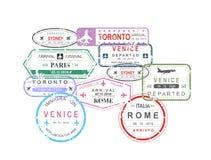 El ejemplo del vector del pasaporte de la visa del viaje internacional sella en la composición de la forma del coche en el fondo  libre illustration