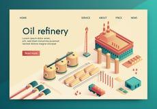 El ejemplo del vector se escribe la diapositiva de la refinería de petróleo ilustración del vector