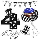El ejemplo del vector se opone Día de la Independencia feliz en negro, rojo, azul y blanco coloreado para el anuncio Comida campe stock de ilustración