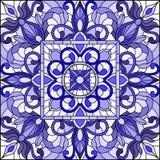El ejemplo del vitral con el extracto remolina y se va en un fondo ligero, imagen cuadrada, azul gamma stock de ilustración