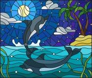 El ejemplo del vitral con un par de delfínes en el fondo del agua, se demora la nube, el cielo, la luna y las islas con las palme libre illustration