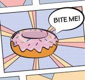 El ejemplo delicioso dulce del buñuelo del estilo del arte pop con la formación de hielo, crema y asperja Para el cartel, web, im Stock de ilustración