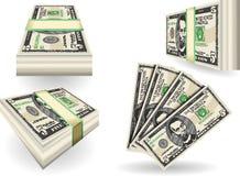 Sistema completo de cinco billetes de banco del dólar Foto de archivo libre de regalías
