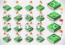 Sistema de esquina y de iconos del fútbol Fotografía de archivo libre de regalías