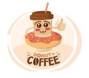 El ejemplo divertido del vector de la taza de café del personaje de dibujos animados llevó un buñuelo Concepto de la cafeter?a libre illustration