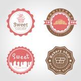 El ejemplo dulce del vector del logotipo del círculo de la magdalena y de la panadería y de la tienda de la leche diseña stock de ilustración