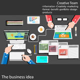 El ejemplo elegante del vector del diseño plano de la organización rutinaria de negocio moderno trabaja paso en la oficina Plan e Imagenes de archivo