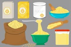 El ejemplo en tipos dishware del sistema grande del tema diversos llen? la harina de ma?z libre illustration