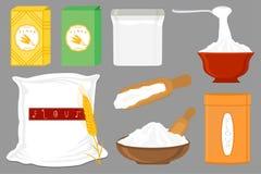El ejemplo en tipos dishware del sistema grande del tema diversos llen? la harina de trigo ilustración del vector