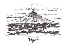 El ejemplo exhausto del vector del bosquejo de la mano de Vigan aisló ilustración del vector