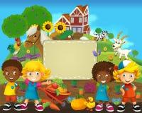 El grupo de niños preescolares felices - ejemplo colorido para los niños Imagen de archivo