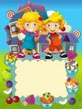 El grupo de niños preescolares felices - ejemplo colorido para los niños Imágenes de archivo libres de regalías