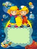 El grupo de niños preescolares felices - ejemplo colorido para los niños Imagenes de archivo