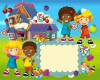 El grupo de niños preescolares felices - ejemplo colorido para los niños Foto de archivo libre de regalías