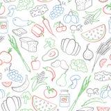 El ejemplo inconsútil en el tema del vegetarianismo, iconos del ultramarinos, los iconos simples del contorno se dibuja con los m Fotos de archivo libres de regalías