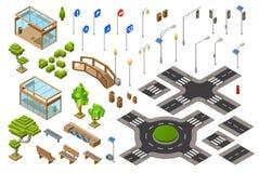 El ejemplo isométrico 3D del camino de ciudad de las señales del semáforo y de dirección o de los cruces aisló iconos libre illustration