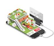 El ejemplo isométrico de la sombra de las compras en línea con el teléfono móvil, ordenador portátil, almacena el ejemplo aislado Fotos de archivo libres de regalías