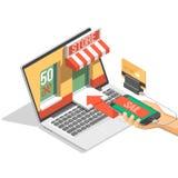 El ejemplo isométrico de la sombra de las compras en línea con el teléfono móvil, ordenador portátil, almacena el ejemplo aislado Imagen de archivo libre de regalías
