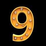 El ejemplo ligero 3d de las lámparas de los números rinde Imagen de archivo