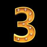 El ejemplo ligero 3d de las lámparas de los números rinde Imagen de archivo libre de regalías