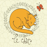 El ejemplo lindo del carácter del gato con las letras francesas de la palabra del gato, Le Chat significa el gato en francés Fotos de archivo