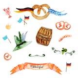 El ejemplo más oktoberfest de la acuarela con las banderas Imagen de archivo