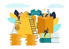 El ejemplo plano del vector, hucha grande en el fondo blanco, servicios financieros, banqueros hace el trabajo, acumulación o aho stock de ilustración