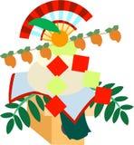 El ejemplo que es usable en la letra de los saludos del Año Nuevo (la torta de arroz redonda) Fotos de archivo libres de regalías