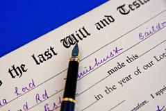 El ejemplo retro del último y testamento. Imagen de archivo