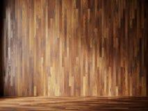 El ejemplo rinde el interior natural con los paneles de pared de madera Imagen de archivo