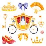 El ejemplo romántico con la princesa del carro adornó las flores preciosas libre illustration