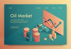 El ejemplo se escribe el mercado del petróleo isométrico libre illustration