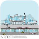 El ejemplo simple del vector del terminal de aeropuerto ocupado con el aeroplano saca, aterrizando y parqueando incluya el transp ilustración del vector