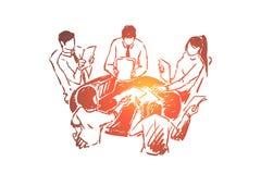 El ejercicio de la formaci?n de equipo, estudiantes se inspira, trabajo en equipo, proceso de la discusi?n de la estrategia de de libre illustration