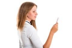 El ejercicio de la mujer joven fotografió usando una cámara del teléfono móvil Fotografía de archivo libre de regalías