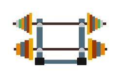 El ejercicio de la pesa de gimnasia carga vector del equipo de la aptitud del gimnasio Fotos de archivo