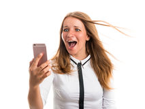 El ejercicio feliz de la mujer fotografió usando una cámara del teléfono móvil Fotografía de archivo